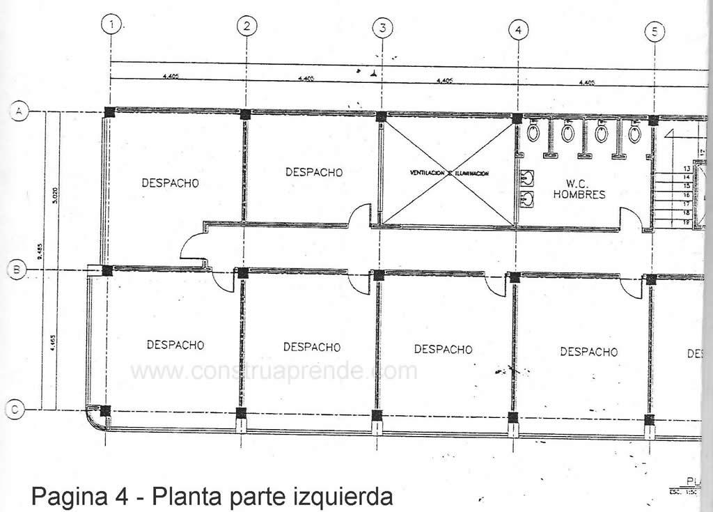 Trabajo 14 dise o estructural de un edificio oficinas for Planta arquitectonica de una oficina
